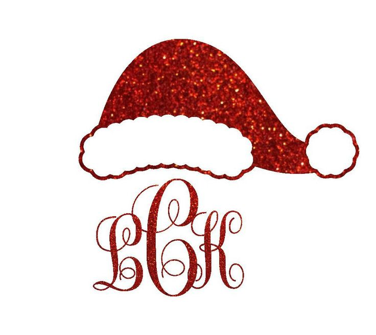 Glitter Monogram Santa Hat Iron On Transfer, Personalized Christmas Decal, Gift for Her, DIY ...