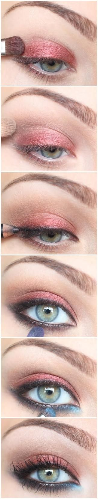 eyeshadow: coral shadow on top, light blue in the lower inner corner by Jessica Huth