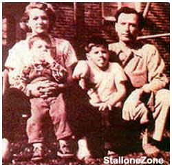 Family photo of Frank Stallone (L) with parents, Jackie & Frank, Sr., and Slyvester Stallone (R).