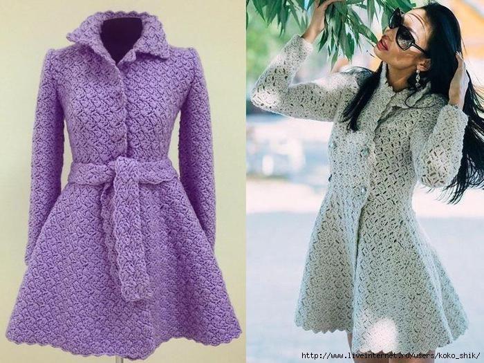 Вязание крючком - Пальто с расклешенной юбкой крючком