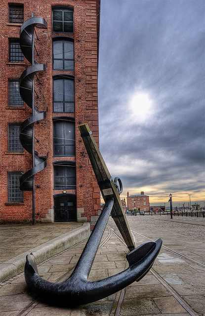 "Mersey Anchor. Parked outside the Maritime Museum within the Albert Dock area, Liverpool. The little sign reads ""In the interest of safety, please do not climb on this exhibit!""...that's just too tempting!"