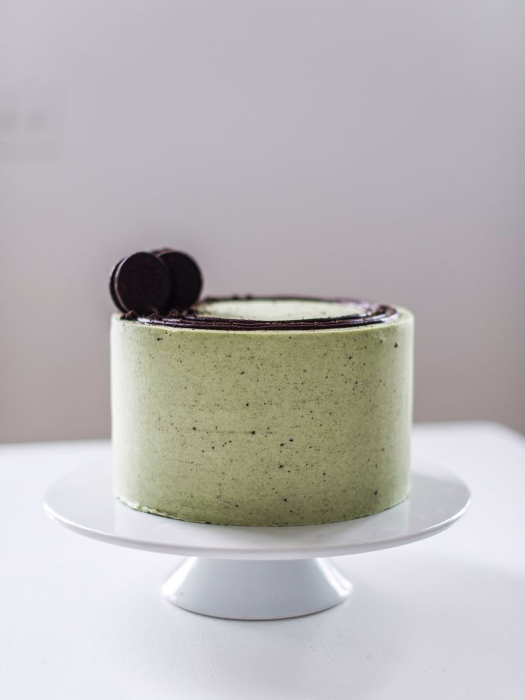Mint chocolate cake, baked on a mint chocolate cookie crust, filled with a mint cream cheese and cookie filling, chocolate ganache and mint buttercream.