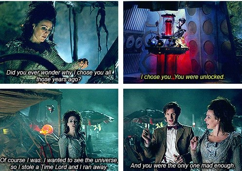 """The TARDIS and her Doctor """"I wanted to see the universe, so I stole a Time Lord and I ran away."""" I *loved* that"""