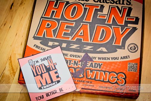 "Ba ha ha ha!  ""I'm thinking You-N-Me tonight you better be... Hot-N-Ready!""  This is SO perfect for my man.  Pizza AND lovin'?  What more could a guy want?"