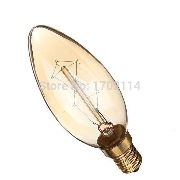 Переоценить 40 Вт E14 старинные антикварные свеча люстра свет нити накаливания прозрачное стекло подвеска лампа 110 В / 220 В