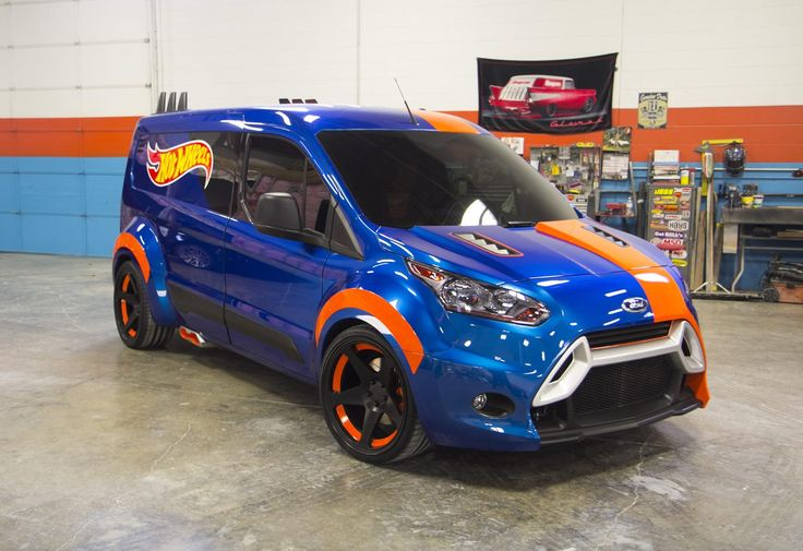 """2014 Ford Transit Connect Hot Wheels Concept -   """"The Hot Wheels Transit Connect features an entirely custom, euro-look wide body kit, Rotiform ROC wheels, sleeping quarters and tool storage for living the dream that most of us had playing with Hot Wheels as a child,"""""""