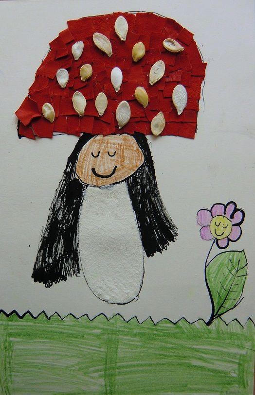 DĚTIČKY HOUBIČKY - přeměnit sebe samého v houbu (kresba tuší a pastelkami, koláž)