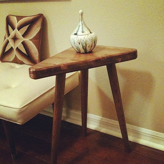 Mid Century Inspired Triangle Side Table by OrWaDesigns on Etsy, $120.00