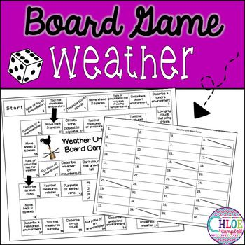 Weather Board Game This board game gives students the opportunity to review in a fun, engaging way! The game reviews:-4 Types of Precipitation: Snow, Sleet, Hail, Rain -Weather Tools: Thermometer, Wind Vane, Rain Gauge, Barometer, Anemometer, and Hygrometer-3 Climate Zones: Polar, Tropical, Temperate-Cloud Types: Cumulus, Cirrus, Stratus, Cumulonimbus-Types of environments: Grassland, Desert, Mountain, Wetland, Swamp, Tundra, and Rainforest This game would pair perfectly with my Weather…