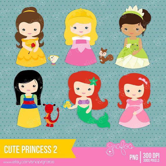 CUTE+PRINCESS+2++Digital+Clipart+++Princess+Clipart+by+grafos,+$5.00