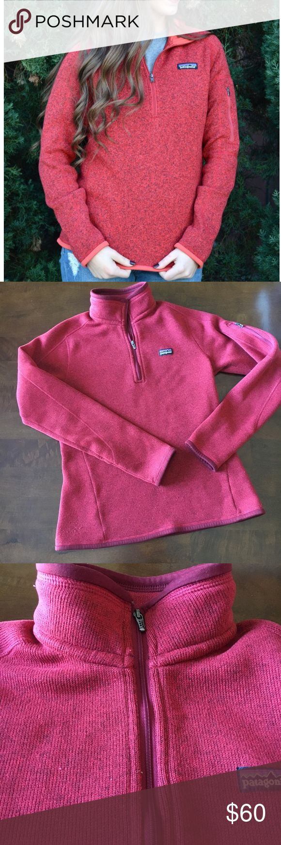 """Patagonia Better Sweater Quarter Zip Red Sz S Excellent used condition. Deep red Patagonia Quarter Zip Better Sweater. Soft and cozy and features zip compartment on left sleeve. Please note stock photo differs from product for sale-piping on product is maroon not orange. Selling because this is too small for me 😭. Approx measurements: armpit to armpit: 16"""", shoulder to hem: 23"""", sleeve length: 18"""". No stains or holes. Smoke free home. Will trade for medium in same color and style! Patagonia…"""