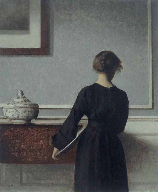 Vilhelm Hammershoi 'Interior with Young Woman Seen from Behind' 1879-1916 by Plum leaves, via Flickr