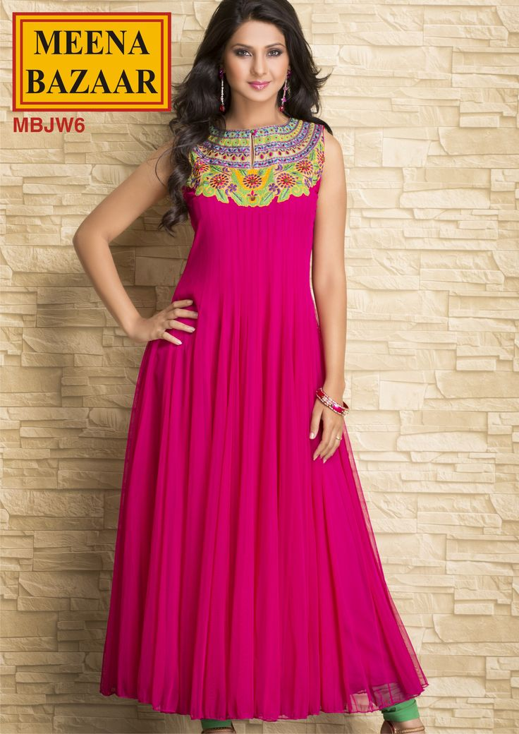 Embroidered Long Anarkali Kurti on Nett Fabric by Meena Bazaar