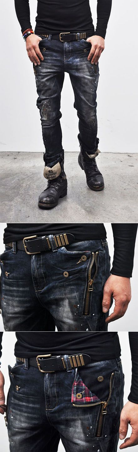 Check Accent Zippered Semi-baggy-Jeans..I love jeans with different details...these pockets along with the flannel lining are pretty cool. Maybe have a lighter wash too...