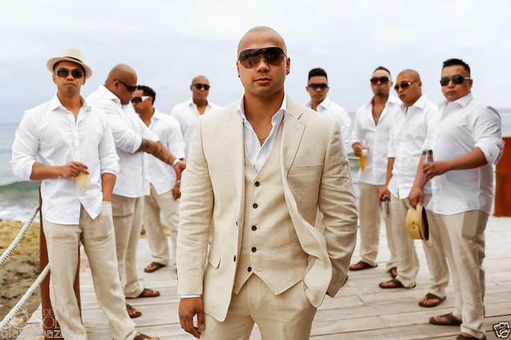 Men Designer Wedding Grooms Tuxedo Dinner Linen 3 PC Suits Trouser Blazer US338