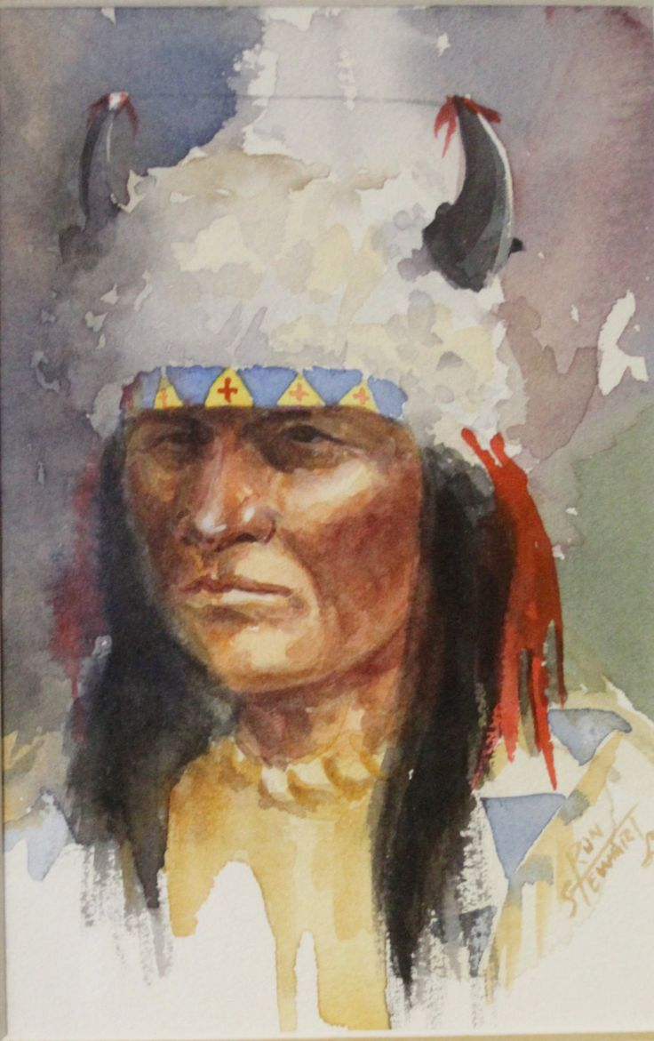 "Western Art: Ron Stewart, Western Artist, Water Color Painting, ""Three Indians and a Mountain Man"", Ca 1980, #731"