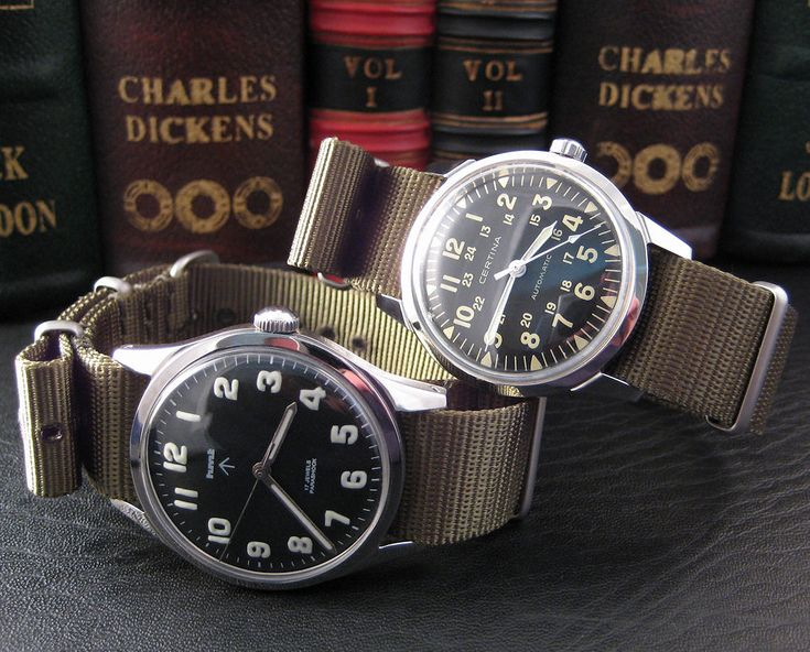 HMT Janata & Certina Pilot on olive NATO straps. One watch cost 10x the price of the other