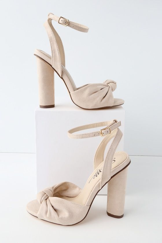 71e544f93dd0 Nessa Nude Suede Ankle Strap Heels
