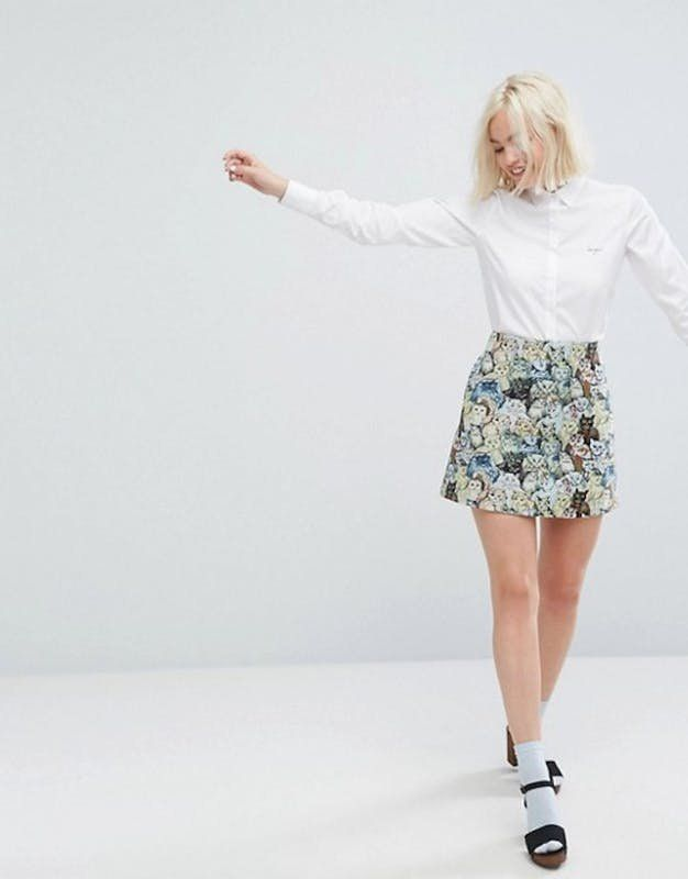 This cat print skirt is SO adorable.