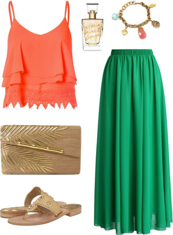 Hawaii Beach Vacation Outfit with Green Pleated Skirt and Lace Top