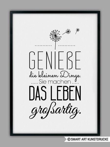 """""""GENIEßE DAS LEBEN"""" Kunstdruck von SMART ART Kunstdrucke ® auf DaWanda.com"""