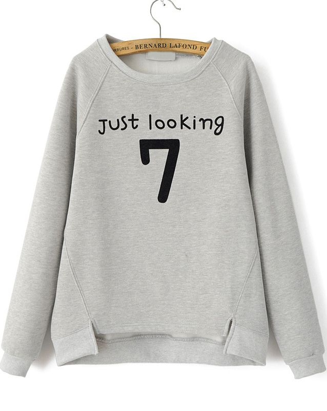 SheIn offers Grey Long Sleeve Letters 7 Print Loose Sweatshirt   more to  fit your fashionable needs. 96349a4aca