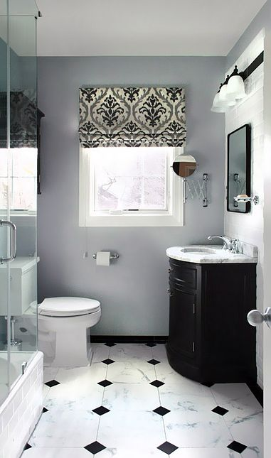 Classic bathroom  Black and white tiles floor  Damask pattern roman shades   Gray wallsBest 25  Black and white bathroom ideas ideas on Pinterest  . Black And White Bathrooms Images. Home Design Ideas