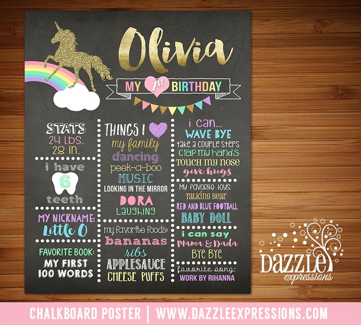 wording ideas forst birthday party invitation%0A Printable Rainbow Unicorn Chalkboard Poster   Girls  st Birthday Stats    Gold Glitter   Favorites