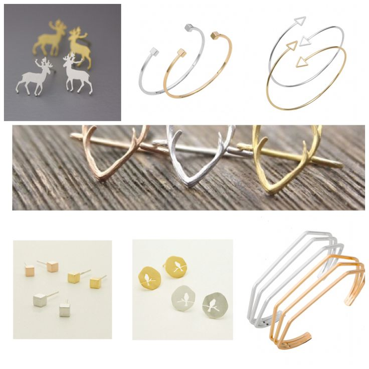 Minimalist jewellery. Bangles, geometric studs, antler necklaces, earrings, and rings. https://www.facebook.com/kleeboutique/