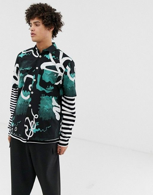 d77ebd64 Crooked Tongues oversized short sleeve shirt with abstract print in ...
