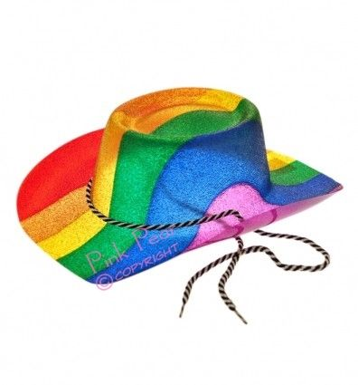 Loads of ideas for your gay stag party. Rainbow glitter cowboy hat - £5.45