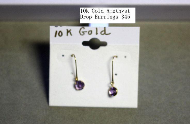 10K Yellow Gold Amethysts Earrings | eBay