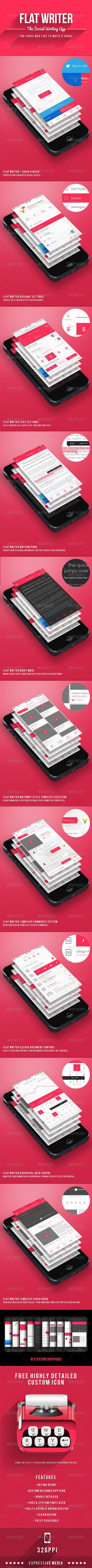 Flat Writer - Social Writing App User Interface