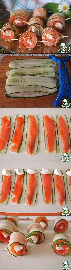 Rotoli di zucchine con salmone, Philadelphia e mozzarella