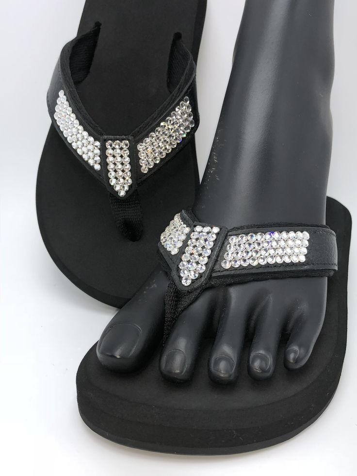 "Clear Day - Orthopedic flip flop from our Duchess collection. Shoe consists of a molded sole bottom with built in arch support, 1/2"" high density EVA memory foam rubber, leather straps with a rolled nylon lining, and are embellished by hand with genuine Swarovski® crystals.  (Sizes 5 - 11 / no half sizes)  Embellished in Fort Worth, TX.  (www.SouthernGlassSlipper.com)"