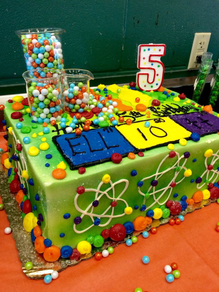 Mad Scientist Birthday Party Cake with Birthday Boy Name done like the Periodic Table!
