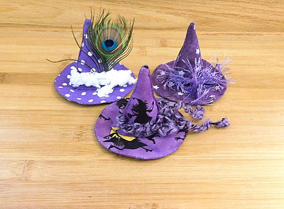 Purple Halloween Witch Hats Ornaments Primitive Bowl Fillers