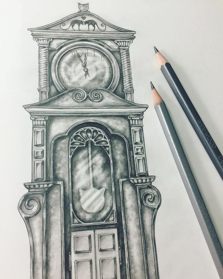"Eeva Nikunen (@eevanikunen) on Instagram: ""'Almost midnight' ✨#sketchtember #sketchtember2017 #grandfatherclock #sketch #sketchbook…"""