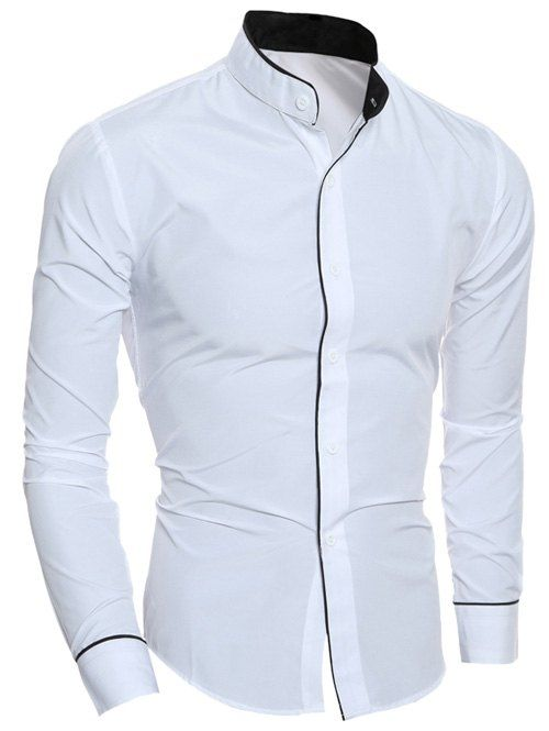 Edging Long Sleeve Grandad Collar Shirt Join Sammydress NOW Get YOUR $50 and a chance to GET THIS FOR FREE!!