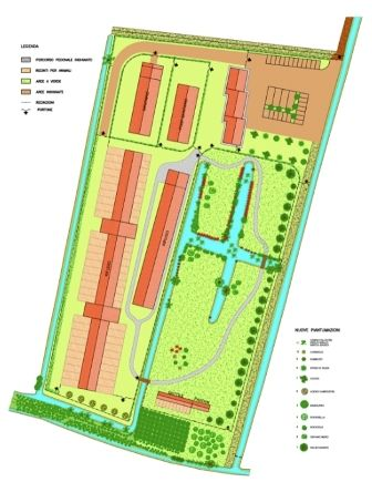 The layout of our shelter, where you can see the area with housing for our dogs, the pond, and the park areas. / Il pianto del rifugio, con l'area dei box per nostri cani, lo stagno, e il parco.