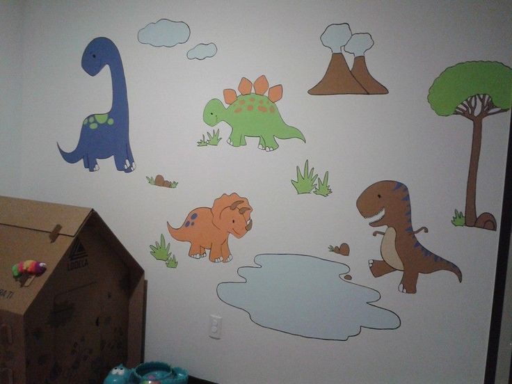 Murales pintados a mano para ni os dinosuaurios mis creaciones en 2019 - Murales pintados a mano ...