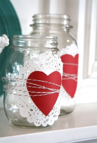 10 Mason Jar Ideas for Valentine's Day | DIY Your Way | doily, heart, twine - fill with goodies for teacher