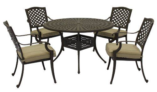 "Patio Furniture Aluminum Somerset 5PC Dining Set by 101patiofurniture.com. $1320.00. Patio Furniture Aluminum Somerset 5PC Dining Set. Color: Brown. Product Material: Cast Aluminum. Set includes:  (1) 48"" round table  (4) dining arm chairs: 23""W x 17""D x 35""H"