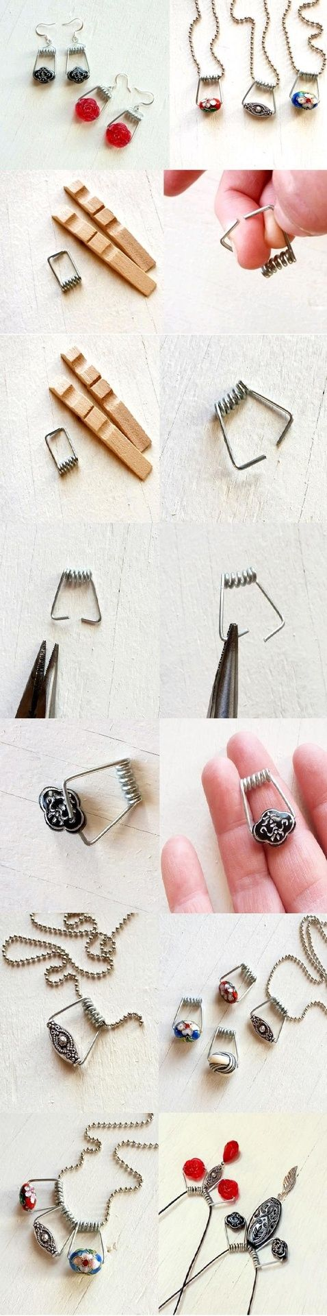 repurpose clothespin spring as jewelry as a bead bail.