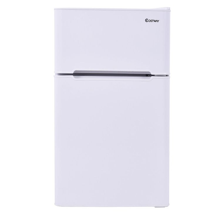 Costway 2 Door Apartment Size Refrigerator 3.2 Cu Ft. Unit Stainless Steel  Compact Small  Apartment Size Refrigerator Freezer