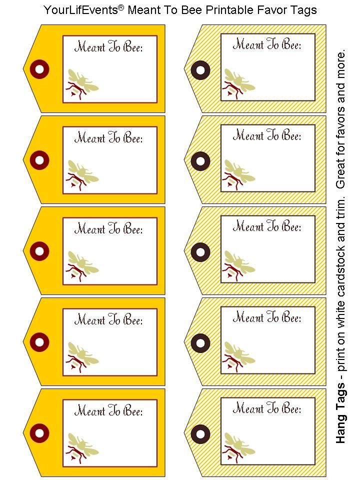 Printable Tags Printables Free Meant To Bee Wedding