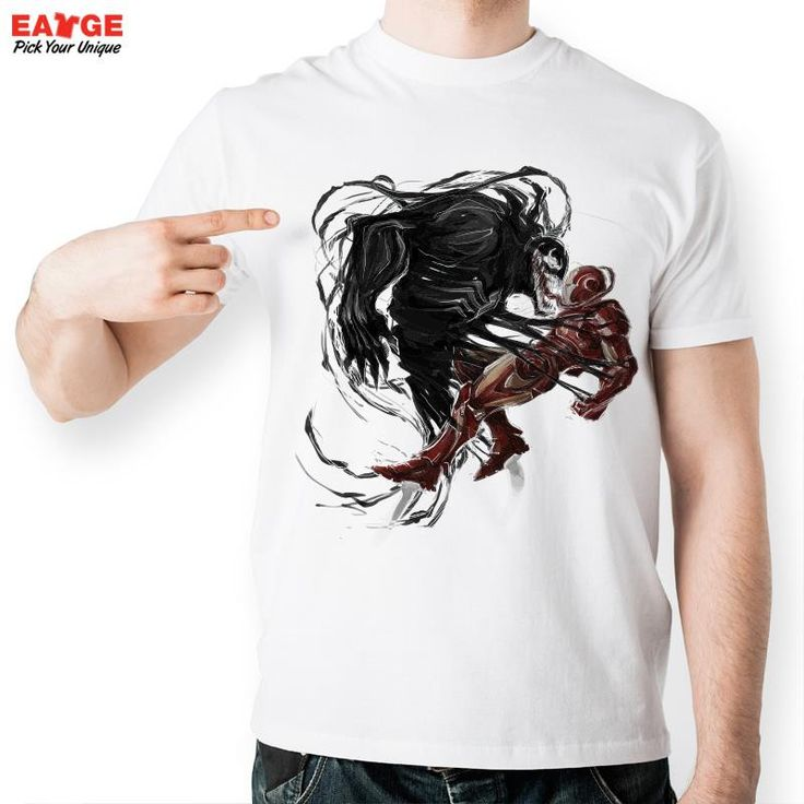[MASCUBE]Hand Drawn Venom Fight t Shirt Design Inspired By Anime t-shirt Cool Fashion Novelty Funny tshirt Men Women Print Tee