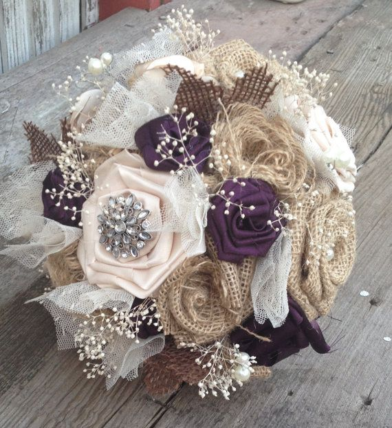 Beautiful bridal bouquets with handmade silk by BurlapandLacePlace