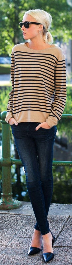 Camel + black striped sweater + Black skinnies + black flats. Closet makeover trying Stitch Fix for the first time! https://stitchfix.com/referral/4291833