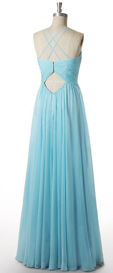 b293405d5c5c Robe soirée longue turquoise élégant plissée encolure V à bretelle fine  croisée dos découpé tencel